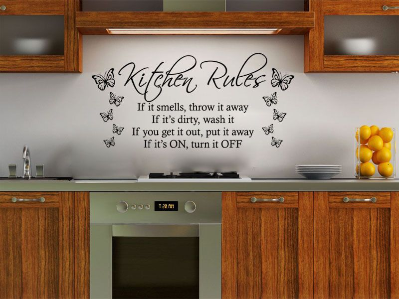 Kitchen Rules With Butterflies Modern Wall Art Quote Vinyl